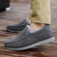 2014冬季新款男士韩版加绒豆豆鞋低帮浅口加绒平底棉鞋厂家批发