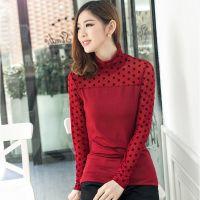 2014秋装新款 韩版女装纱衣修身小衫 网纱高领波点长袖女打底衫