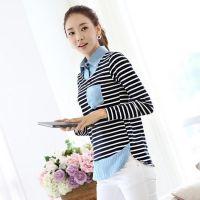 2014秋季新款韩国打底衫 拼接假两件不规则下摆条纹长袖T恤衫