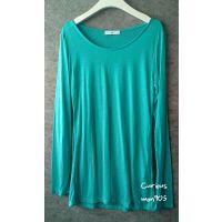 韩国进口女装秋款N 绿色长袖棉质T恤打底衫