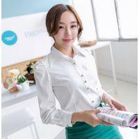 2014韩版秋装时尚职业打底衫 修身长袖泡泡袖衬衫