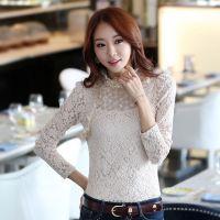 2014秋装新款女装韩版 长袖 气质修身花朵蕾丝花边 女式 打底衫