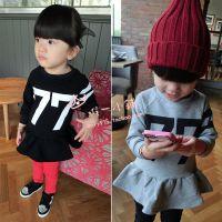 2014秋装新款 女童数字连衣裙 韩版儿童长款运动套头