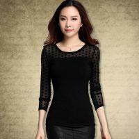 一件代发2014秋季大码女装新款 韩版打底衫时尚褶皱长袖纯色t恤