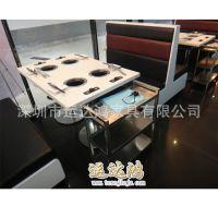 家具厂家直售大理石火锅桌 防火板圆桌封边 价格实惠 质量保证