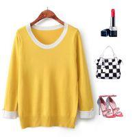 A3  欧洲站2014秋装新款女装圆领套头长袖短款针织衫上衣打底衫