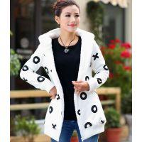 2014秋季装新款韩版特大码修身女装羊羔绒加厚休闲卫衣外套