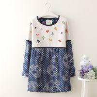森女拼接刺绣蝴蝶字母2色选长袖连衣裙外套