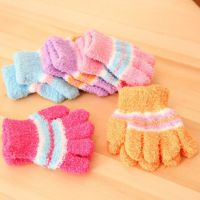 韩国儿童半边绒手套 宝宝冬季保暖全指手套批发 婴儿毛绒毛巾手套