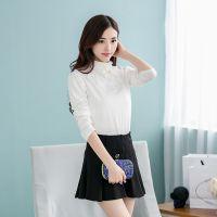2014秋冬韩版修身白色打底衫女高领蕾丝短款长袖