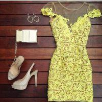 速卖通ebay女热卖镂空透视蕾丝裙蕾丝花边性感修身连衣裙