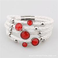 欧美时尚不锈钢多层女式手链 转运珠红色水晶皮绳手链厂家直销