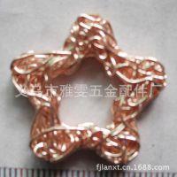 浙江义乌工厂供应彩色电镀电泳铁丝压块五角星吊坠圣诞灯饰挂件
