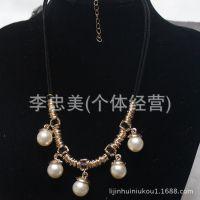 工厂直销 欧美瑞丽气质水滴珍珠项链 韩版项链 项饰批发