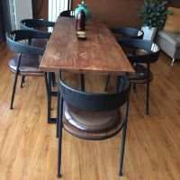 闽东新款欧式铁艺餐厅咖啡厅餐桌椅组合 实木家用餐桌饭店桌椅套