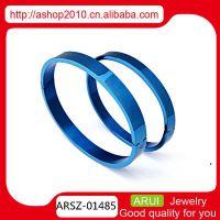 韩版个性 速卖通货源供应  情侣宝蓝色钛钢手镯手环
