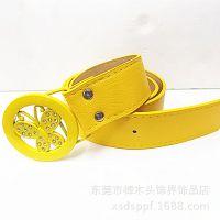 PD108 韩版蝴蝶扣宽腰带 镶钻女式腰带 女装装饰皮带 黄色款