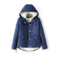 素颜 2014冬装新款质量超好五角星印花羊羔绒加厚 女式棉服