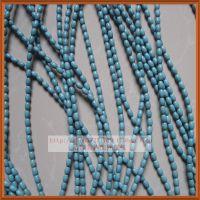 纯天然绿松石藏式桶珠 散珠diy饰品配件 椭圆珠子