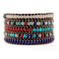 粉晶/珊瑚/绿松石/青金石/黑玛瑙/东陵玉/5圈8色元素缠绕式手链/