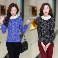 2014秋冬新款韩版女装娃娃领订珠新款纯棉提花蕾丝长袖加厚打底衫