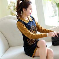 2014新款秋冬韩版针织连衣裙 方领套头毛衣裙长袖女装