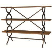 美式美国德鲁书架做旧置物架木材及金属书柜有3个固定货架