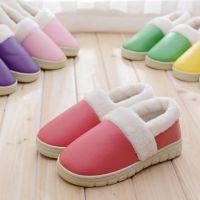 2014冬季新款家居拖鞋 防水包跟棉拖保暖情侣棉鞋厚底皮棉拖鞋