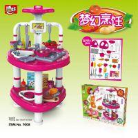 博娃儿童玩具厨房烹饪过家家厨房玩具带灯光做饭仿真厨具餐具套餐