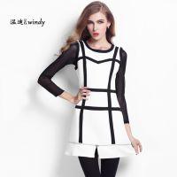 秋季新款连衣裙 2014欧美风黑白撞色拼接 下摆拉链设计时尚连衣裙