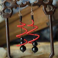 民族原创手工中国风红线编织黑玛瑙螺旋耳环1007943