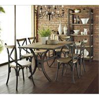 美式乡村餐桌椅组合铁艺实木桌椅餐厅快餐餐桌椅实木餐桌休闲桌子