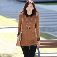 2014韩版衬衫秋装新款中长款翻领大码打底衫 宽松长袖女装 上衣