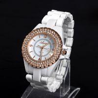 批发速卖通新款水钻品牌表 时尚高档日内瓦女士镶钻仿陶瓷手表