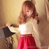 女装春装新款蕾丝打底衫 韩版修身娃娃领泡泡袖上衣女t恤L81003