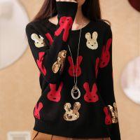 2014秋冬季新款女针织衫圆领套头亮片兔子毛衣针织打底衫