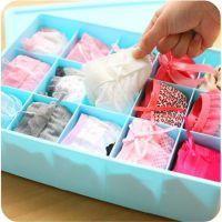 塑料内衣收纳盒 文胸内衣袜子有盖有格收纳盒 橱柜抽屉杂物整理盒