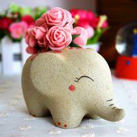 厂家批发景德镇陶瓷可爱情侣小象多肉手工手绘花盆花器家居摆件