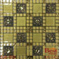 供应供应酒庄专用背景墙混搭金箔马赛克安装简单