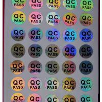 供应标签镭射贴纸不干胶QC PASS标签 10mm银色返七彩光厂家定制