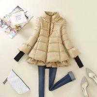 素颜 2014冬装新款A版修身宽松下摆时尚韩版立领女式棉衣外套