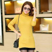 2014秋冬韩版新款中长款高领弹力修身巨显瘦女装针织衫毛衣打底衫
