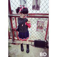 小木马童装 2014秋装新款女童波点长袖T恤女童韩版长袖打底衫-D