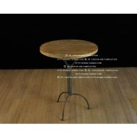 铁艺圆桌实木茶几美式咖啡桌休闲桌复古做旧小桌电话几边几书桌
