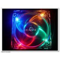 供应超酷炫彩 8CM 8025 透明四色彩灯 LED 带灯 机箱风扇