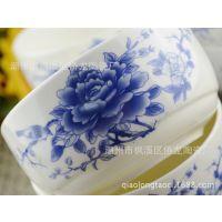 批发青花瓷碗系列4碗4勺韩式碗婚庆礼品套装碗
