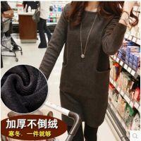 秋冬新款长袖连衣裙韩版修身加绒加厚打底裙大码显瘦打底衫