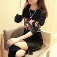 2014韩版大码女装迷彩卫衣中长款时尚百搭加厚加绒打底衫女潮