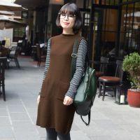 2013秋冬新品复古文艺立领口袋直筒背心针织连衣裙女