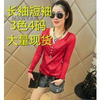 速卖通ebay爆版V领拼接显瘦纽扣长袖网纱t恤 打底衫 好质量